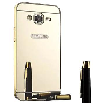 LXHGrowH Funda Espejo Aluminio Metal Carcasa para Samsung Galaxy Grand Neo Plus/Grand Neo/Grand Lite GT-i9060i i9060 i9062 i9082 (5 pollici) Color Oro