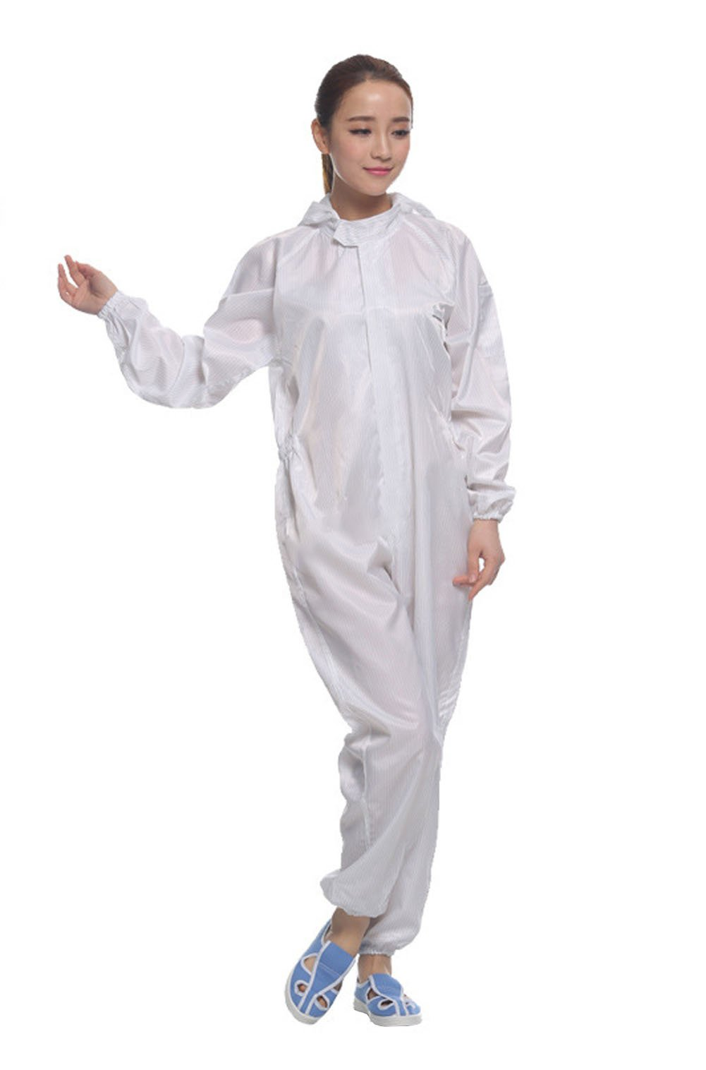 Dust Proof and Anti-static Zip Jumpsuit Protection Coveralls (XL, White)