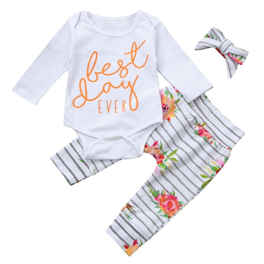 Hirolan Babykleidung Neugeborene Kleidung Baby Strampler 3 Stück Kleinkind Mädchen Brief Strampelhöschen Bequem Lange Ärmel Overall Streifen Blumen Hose Stirnbänder Outfits Set
