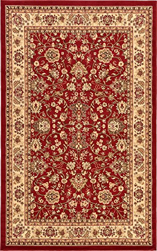Unique Loom Kashan Collection Burgundy 5 x 8 Area Rug (4' 11
