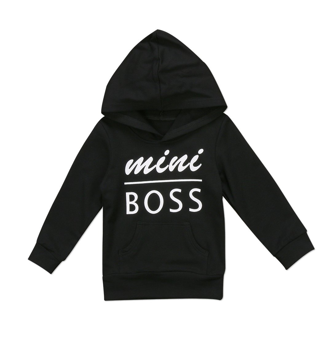 0-5T Baby Boy Girl Mini Boss Hoodie Tops Toddler Hooded Sweater Casual Hoodies with Pocket Outdoor Outfit (2-3 Years, Black) by Urkutoba
