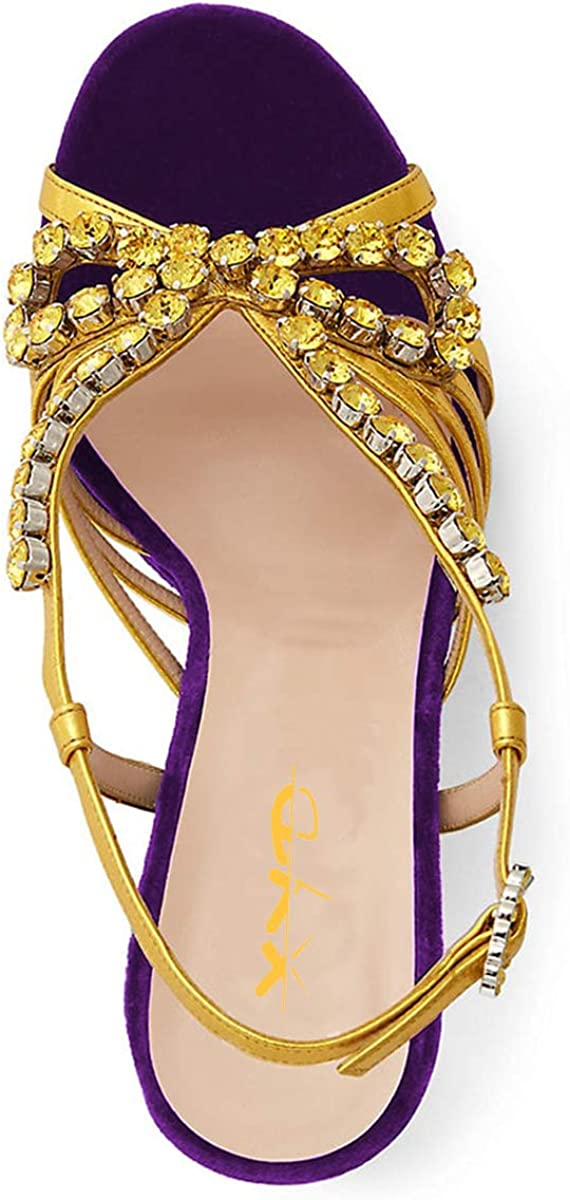 XYD Women Open Toe Slingback Chunky High Heels Platform Sandals with Golden Straps Rhinestones