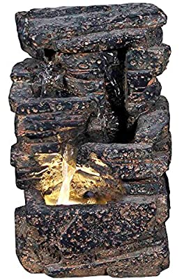 "11"" Veyo Waterfall Rock Fountain w/LED Light: Lava Rock Indoor/Outdoor Water Feature for Tabletops, Gardens & Patios. Hand-crafted Design. Adjustable pump. HF-R22-11LT by Harmony Fountains"