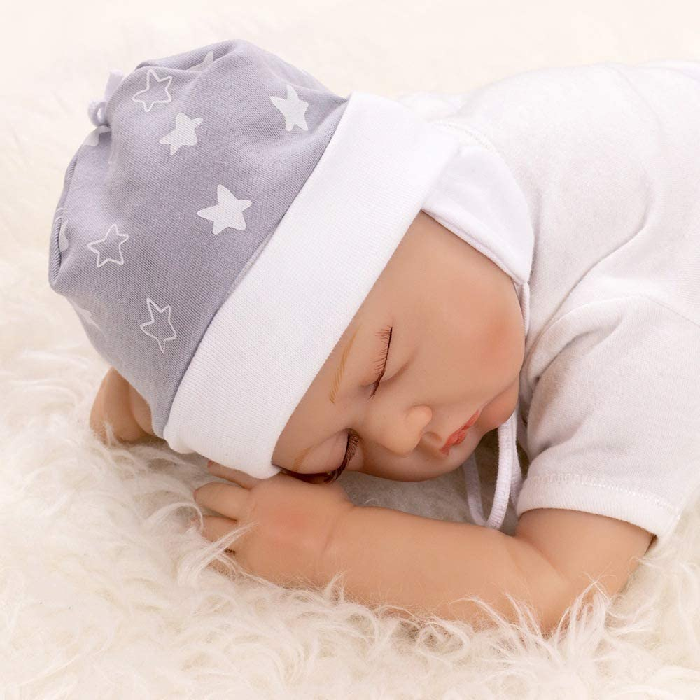 Baby Sweets  Unisex Baby M/ütze f/ür M/ädchen und Jungen als Erstlingsm/ütze im B/är-Motiv//Babym/ütze A star is born 62 Grau Wei/ß