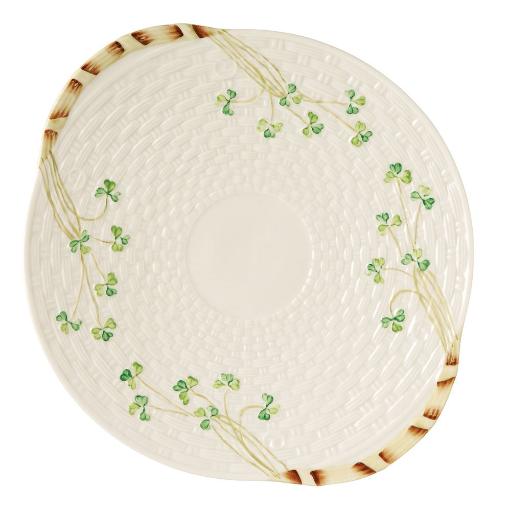 Belleek Group 0008 Shamrock Bread Plate, 11.25-Inch, White