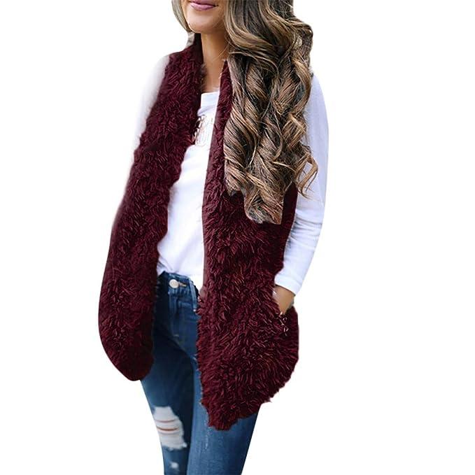 Bellelove Dames Long Gilet Femmes d hiver Outwear Mode Lady Fausse Fourrure  Solide Décontracté Hiver cc59aa1fbd0d