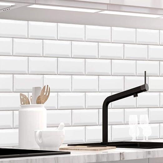Stickerprofis Kuchenruckwand Selbstklebend Premium Weisse Kacheln 1 5mm Versteift Alle Untergrunde Hartschicht 60 X 220cm Amazon De Kuche Haushalt