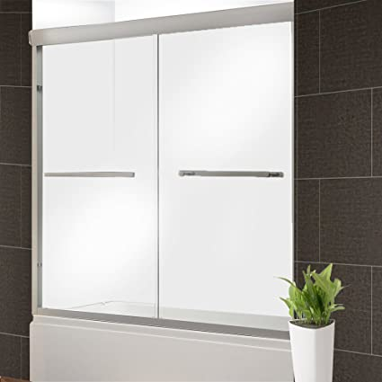 Aleko Gsd03 Glass Dual Sliding Shower Door 60 X 76 Inches Brushed
