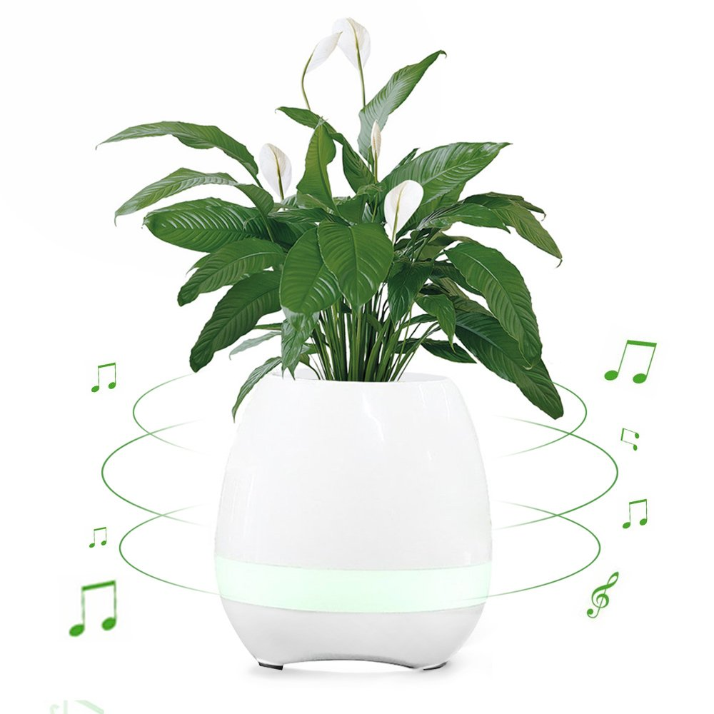 Smart Music Plant Pots, [Gift Choice] Multi-functional Touch Plant Piano Music Playing Flowerpot Innovative Wireless Bluetooth Speakers LED Night Light for Office Home Decor (without Plants) White