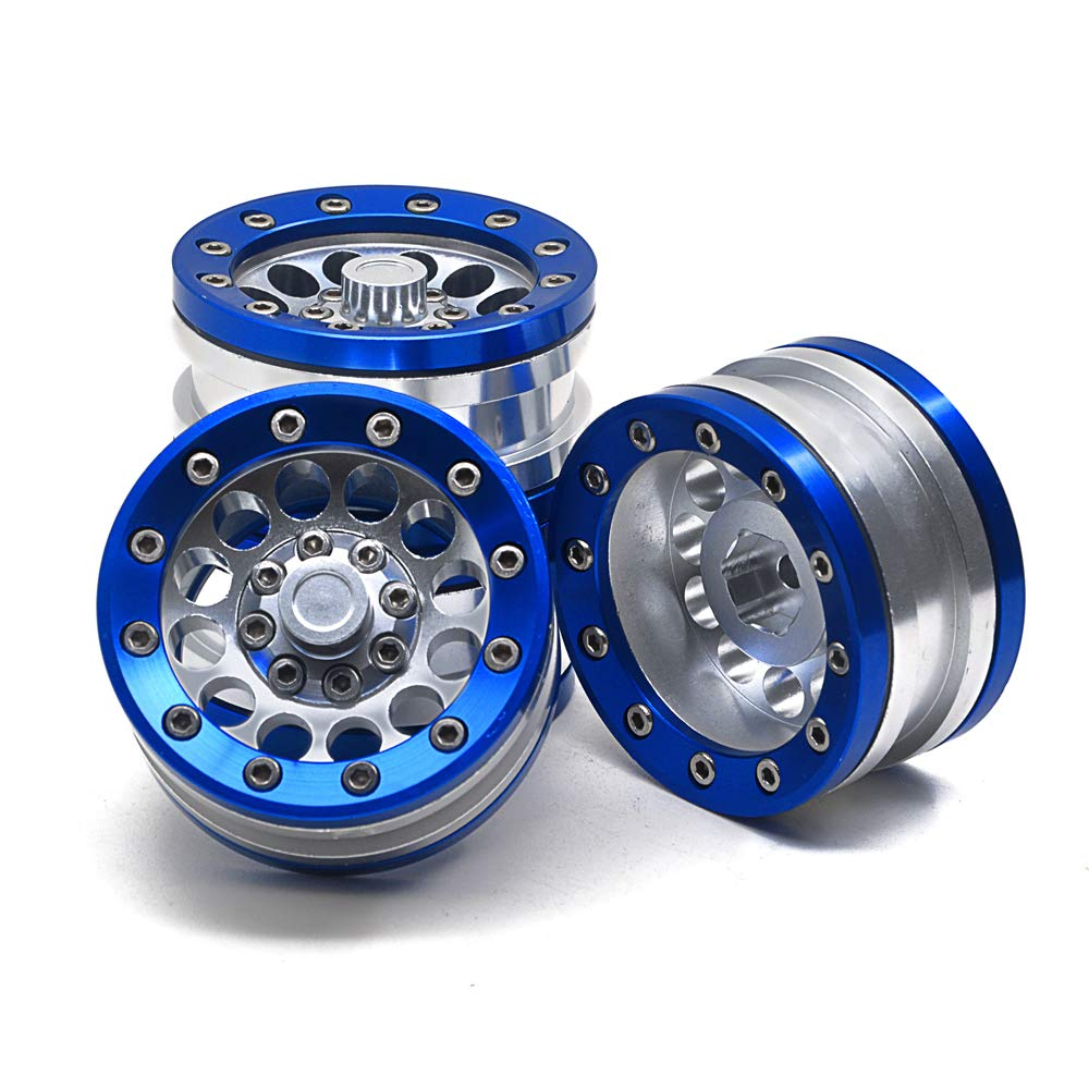 Aluminum Alloy 1.9'' Beadlock Wheel Rims for 1/10 RC Axial SCX10 Tamiya CC01 D90 D110, 4Pcs (Silver & Blue)