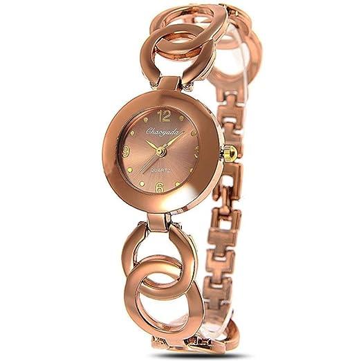 2015 Nueva moda vestido de Oro de café pulsera reloj de cuarzo reloj de pulsera para mujer: Amazon.es: Relojes