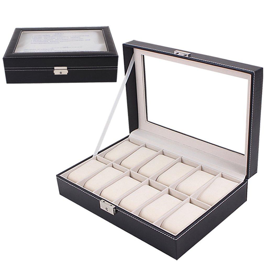 Hunzed Large Display Caseレザーガラスジュエリー腕時計ストレージボックス12スロットブラック ブラック 4331856280 B01MDVKYAFブラック