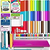 Silhouette PINK CAMEO 3 Bluetooth Starter Bundle with 36 12x12 Oracal Sheets, Siser Easyweed T-Shirt Vinyl, Membership, Transfer Paper, Guide, Class, 24 Sketch Pens, and More