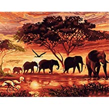 ABEUTY DIY Paint by Numbers for Adults Beginner - Sunset Forest Elephant 16x20 inches Number Painting Anti Stress Toys (No Frame)