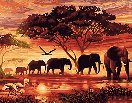 (ABEUTY DIY Paint by Numbers for Adults Beginner - Sunset and Elephant, African Art 16x20 inches Number Painting Anti Stress Toys (No Frame))