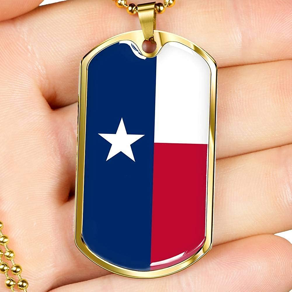 Express Your Love Gifts Texas Flag Pendant Engraved Stainless Steel Dog Tag Necklace w 24 Chain