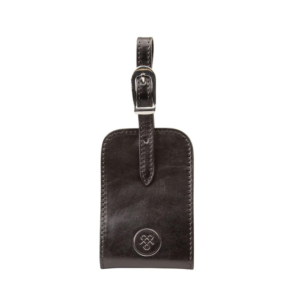 Maxwell-Scott Black ID Luggage Tag (The Ledro)