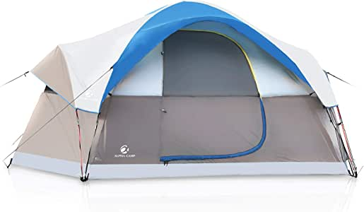 ALPHA CAMP 6 Person Family Tent Dome Camping Tent with Carry Bag and Rainfly
