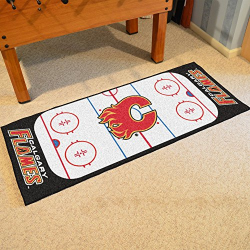 Calgary Flames Rink Floor Mat (Team Fan Gear Fanmats Calgary Flames Rink Runner Size=30