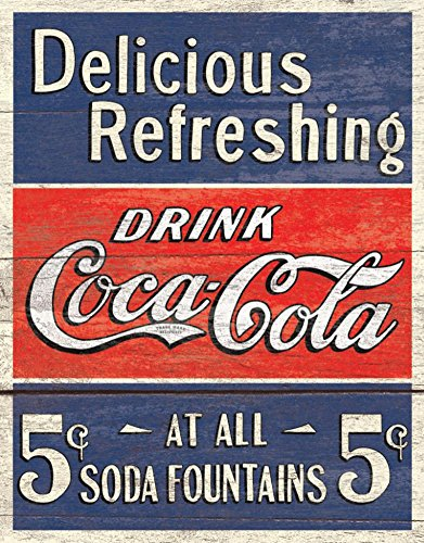 Coke   Delicious 5 Cents Tin Sign 12 X 16In