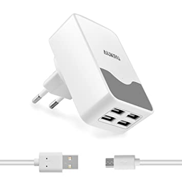 Aukru 5V 4.4A con 4 Puertos USB Cargador de Viaje Adaptador UE para iPad Air/Mini, iPhone 7 / 6S / Samsung Galaxy S7 / S6 / Nexus 5X / 6P / HTC/Sony ...