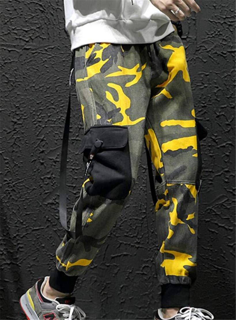 Domple Men Camo Print Casual Hip Hop Multi Pockets Jogger Cargo Pants Black M by Domple (Image #2)