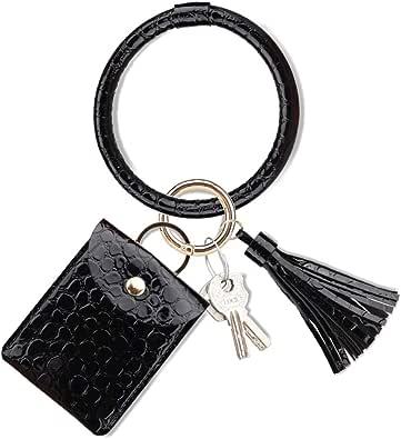 NICAV Keychain Bracelet, Upgraded Tassel Key Ring Bracelet with Wallet Card Holder Leather Bangle Key Ring for Women