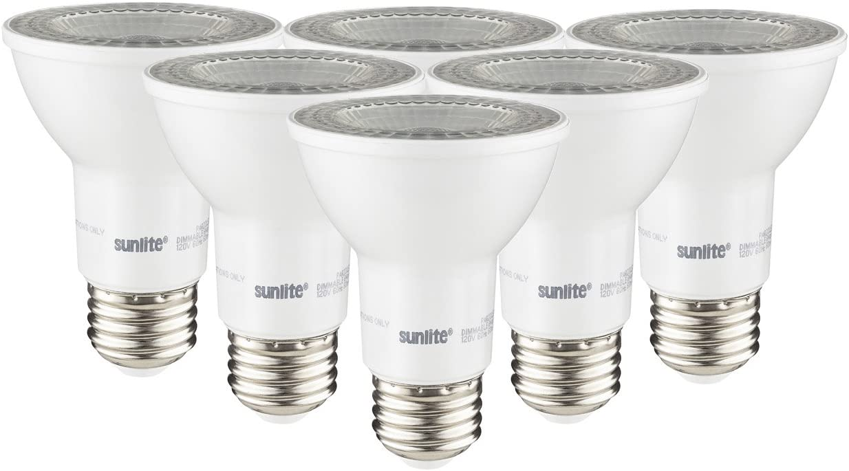 Sunlite 41027-SU LED PAR20 Reflector Light Bulb, 7 Watts (50W Equivalent), 520 Lumens, Dimmable, Energy Star Certified, Spotlight, 6 Pack, 40K - Cool White, 6 Count