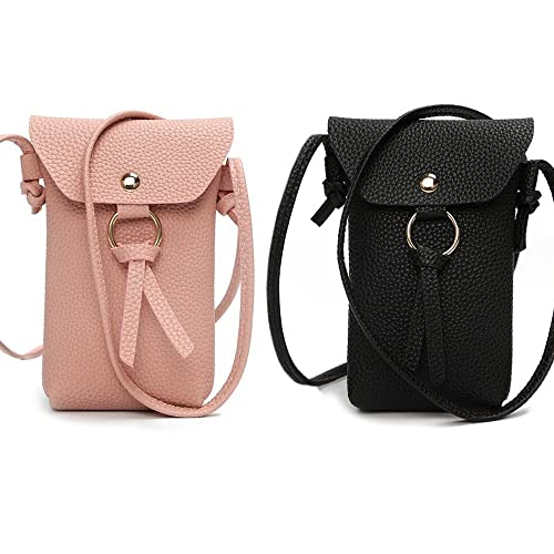 2 Pack Minimalist Women Leather Crossbody Bag Cell Phone Purse Holder  Wallet Shoulder Pouch with Roomy Pockets (Style 1)  Handbags  Amazon.com 74f81cd433195