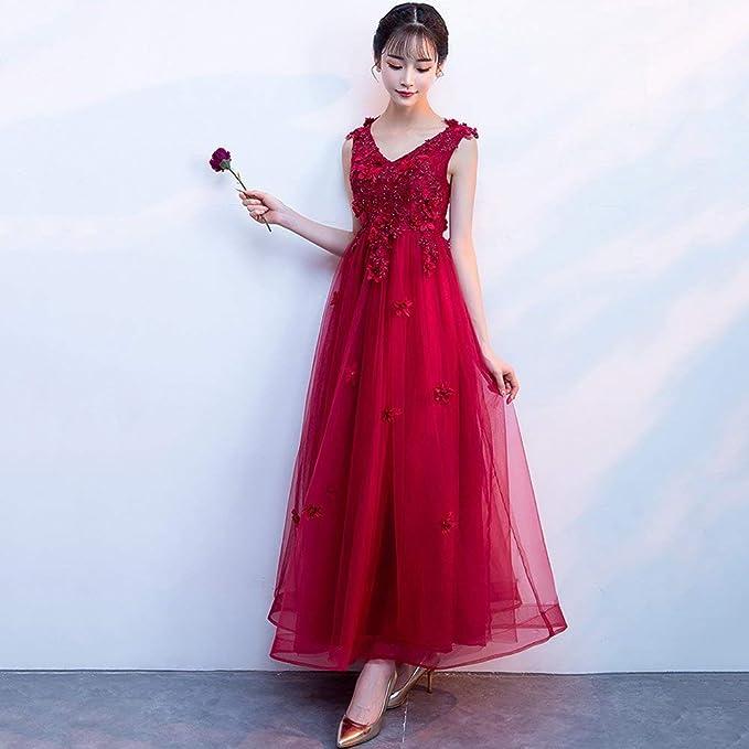 YT-RE la Novia Vestido Rojo Hombro con Cuello en V Cintura Alta Mujeres Embarazadas Vestido de Novia Falda de Tobillo Tridimensional Vestido de Noche Falda ...