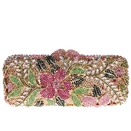 Fawziya Flower Purses For Girls Bling Rhinestone Crystal Clutch Bag-Multicolored
