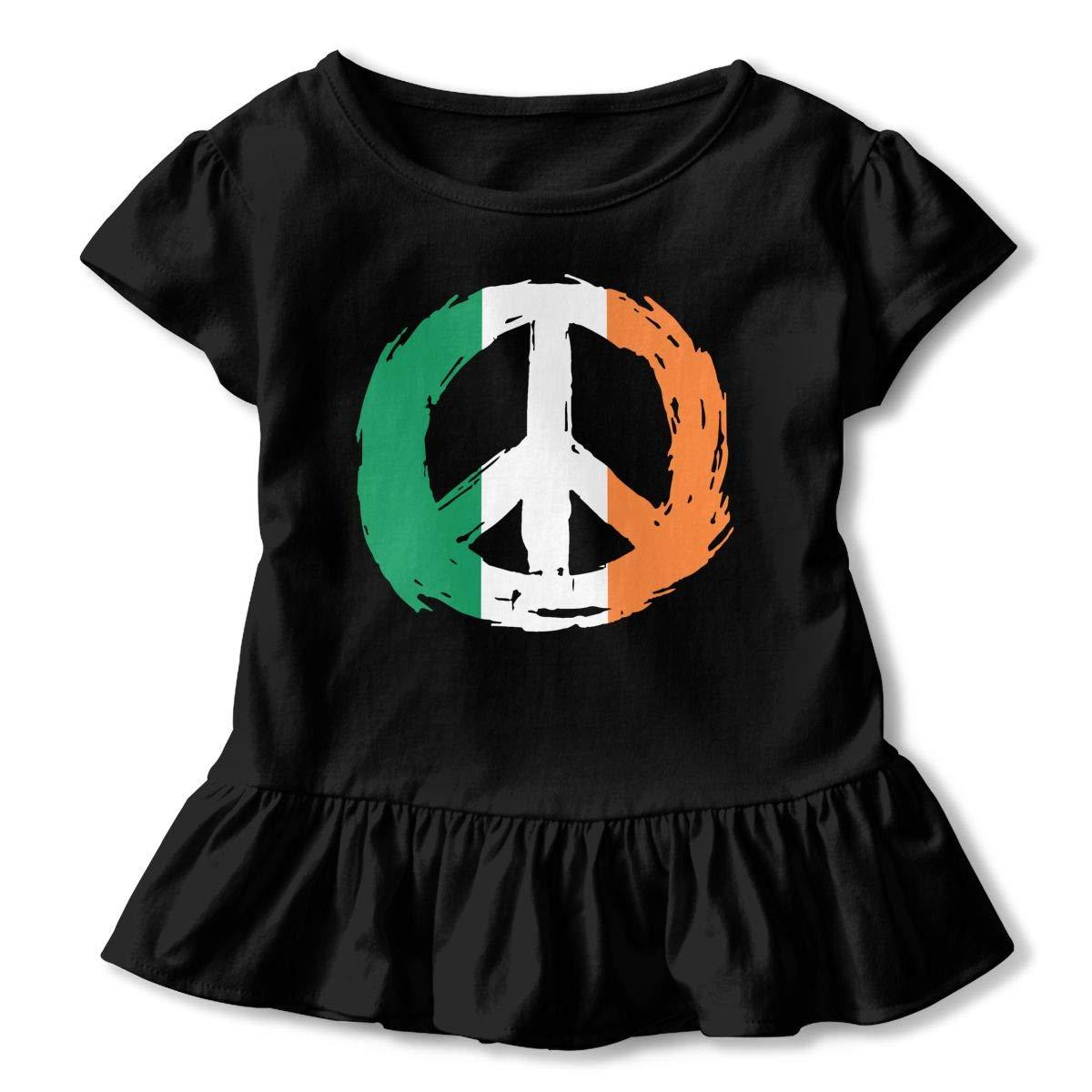 SHIRT1-KIDS Irish Flag Peace T-Shirts Childrens Girls Short Sleeve Ruffles Shirt Tee for 2-6T