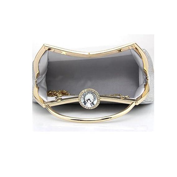 Damen Tragbar Solide Braut Brautjungfer Kleiderpackung Diamant Schnalle Abendtasche Kettenbeutel,RoseRed-OneSize CHENGXIAOXUAN