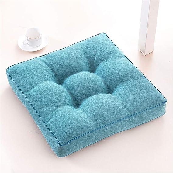Tinta unita lino Cuscini per sedie Quadrata addensare Cuscino di pavimento morbido Trapuntati Cuscino Coprisedia 45x45 per Giardino Cucina Interno