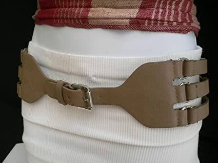 Amazon Com Women Hip Waist Elastic Fabric Faux Leather Taupe Belt Rib Cage Size S M Ds 5091