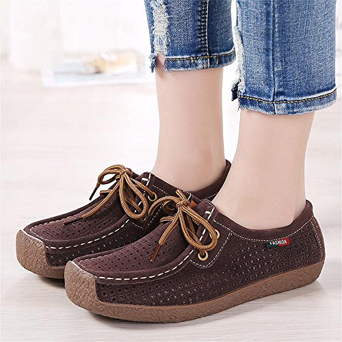 Loafers Chaussures Conduite Femmes De Slip Flats Marron On Confortable Casual Mocassins Cuir 6wFqpv0wt