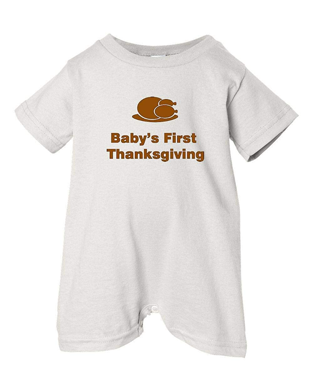 T-Shirt Romper White, 12 Months Dinner Festive Threads Unisex Baby Babys First Thanksgiving