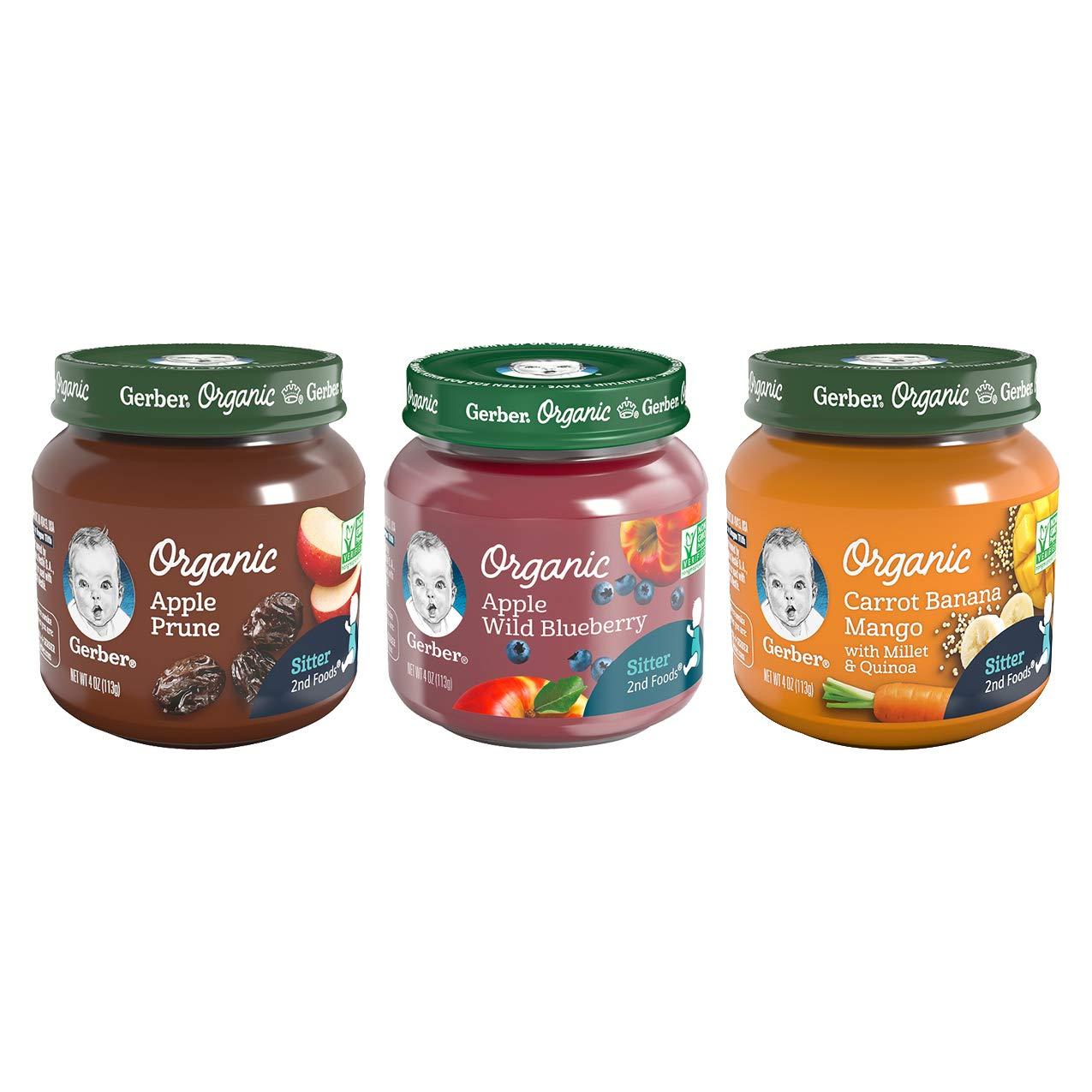 Gerber 2nd Foods Organic Jars Variety Pack, 4 Apple Prune, 4 Apple Wild Blueberry, 4 Carrot Banana Mango, 12-CT