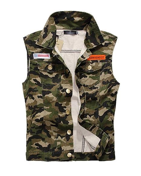 Panciotto Uomo Gilet Senza Maniche Giacca di Jeans Ripped Denim Jacket  Casual Giacchetta Camuffare 3XL 345e19c90bb
