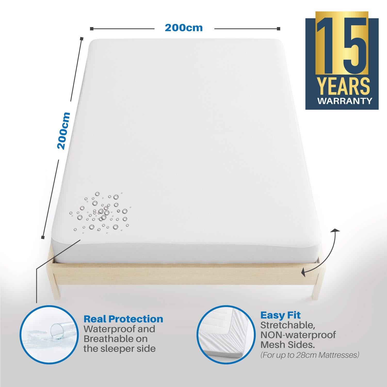 Dreamzie ⭐ Protector de Colchón Impermeable 200 x 200 cm - Cubre Colchón Transpirable, Hipoalergénico, Anti-Ácaros Tratamiento Nueva Generacion ...