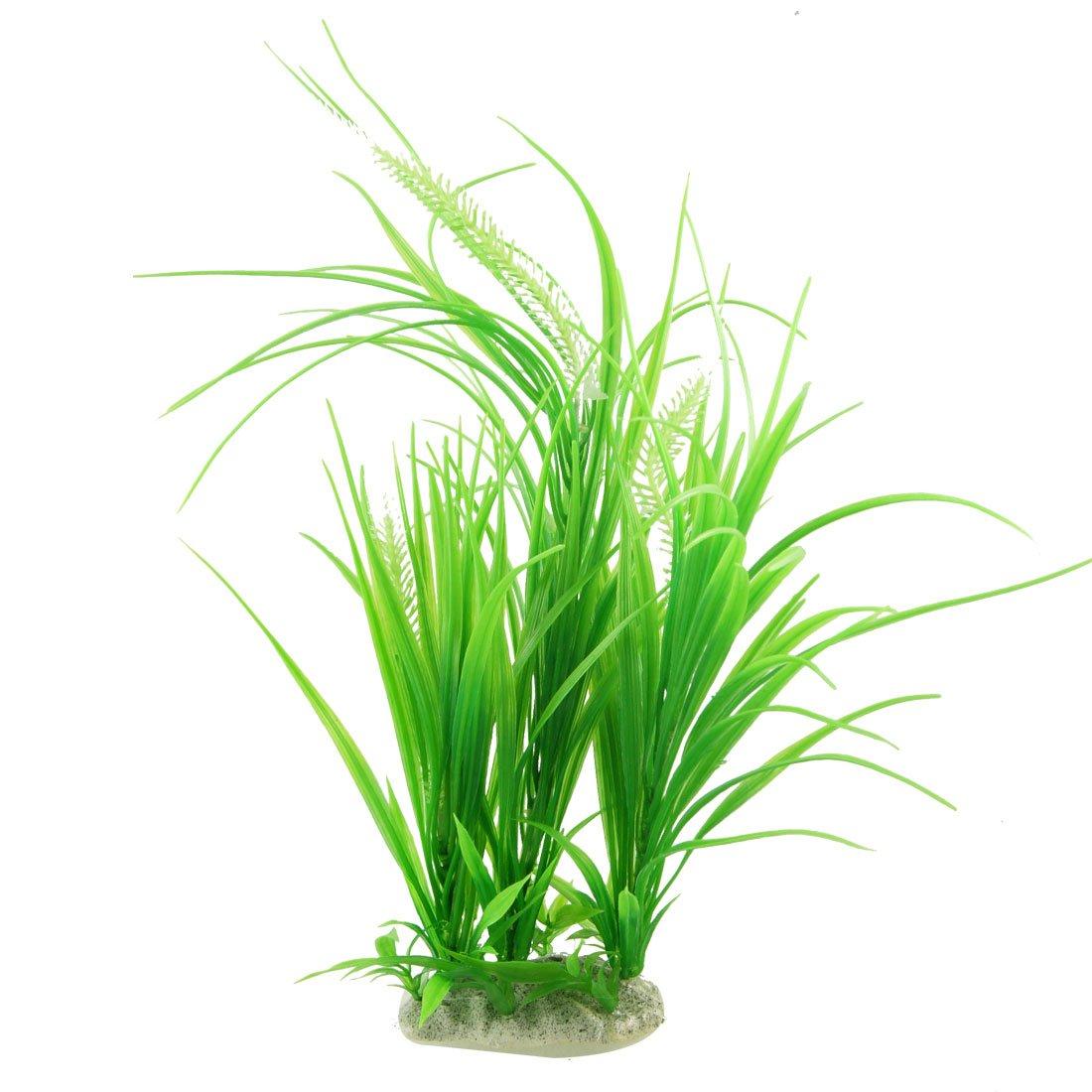 uxcell プラスチック植物 人工植物 水族館装飾 人工水草 グリーン セラミックベース 43cmの高さ B008MMCXIA