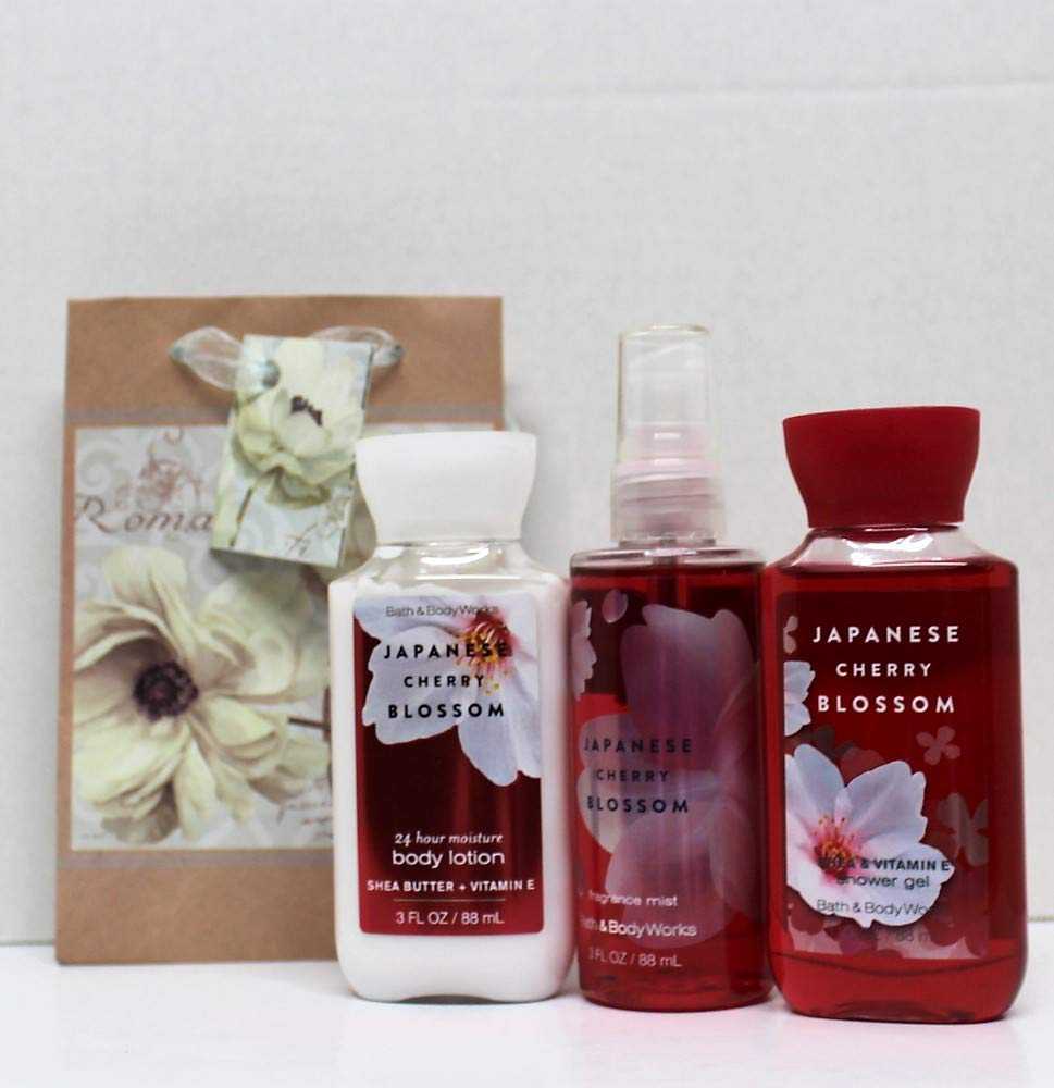 Bath and Body Works - Japanese Cherry Blossom - Shower Gel - Fine Fragrance Mist & Body Lotion - Travel Size Set w/Gift Bag