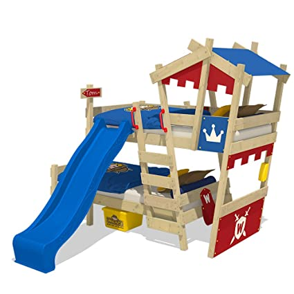 WICKEY Litera CrAzY Castle Cama infantil doble 90x200 Cama alta con tobogán, escalera, techo
