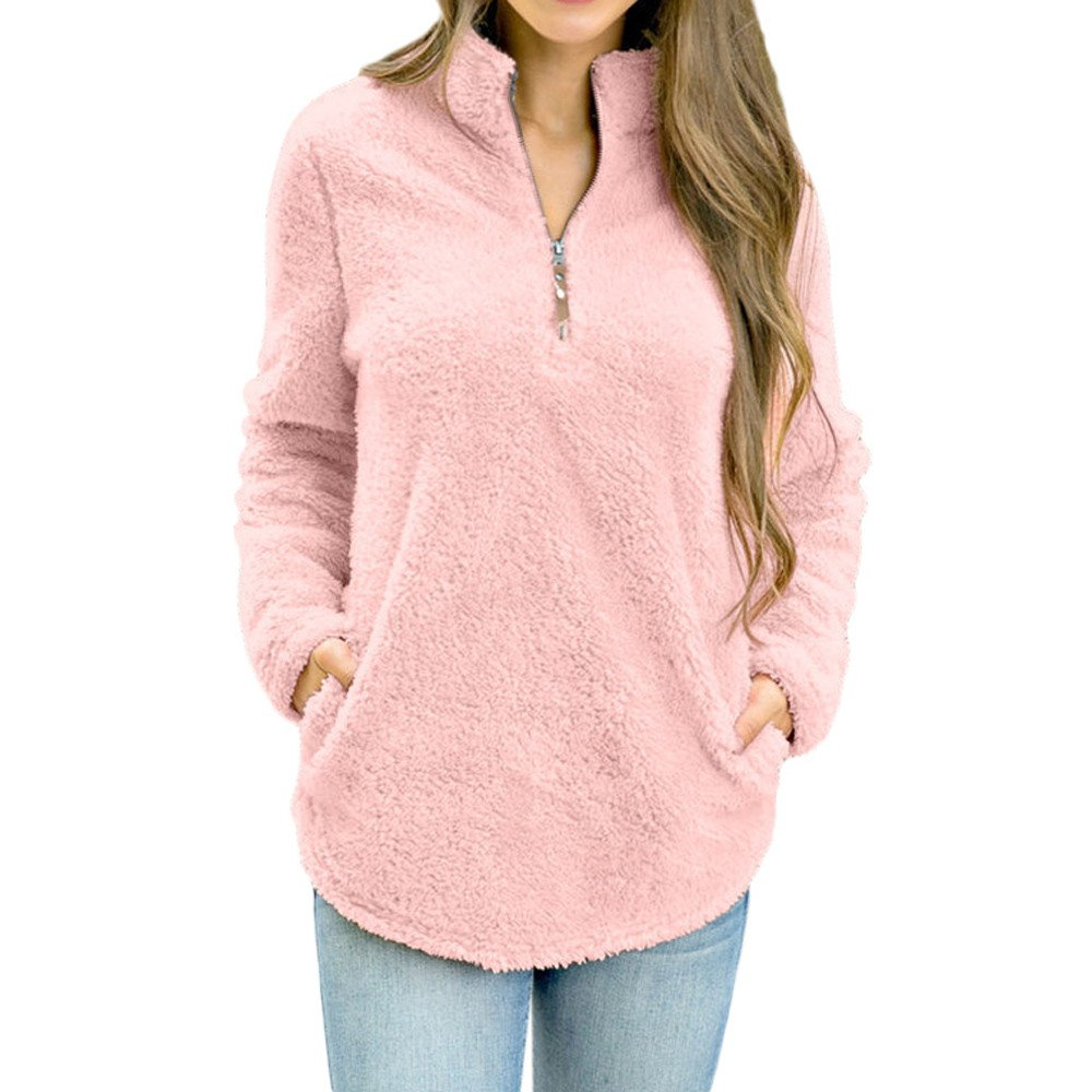 Women Blouses Clearance WEUIE Womens Long Sleeve Tops Winter Warm Blouse Sweatshirt Zipper Fleece Pullover Top (XL,Pink )