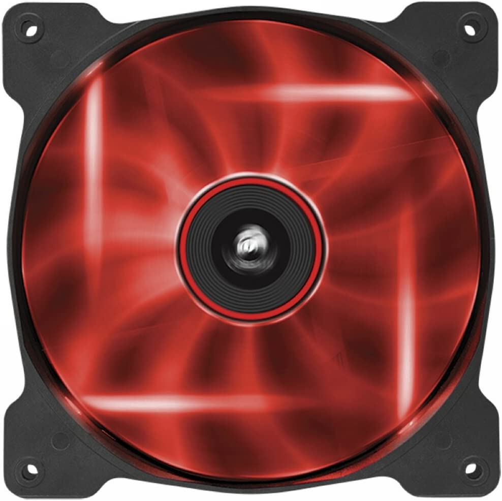 Corsair AF140 LED Quiet Edition Ventilador de PC (140 mm, Alto Flujo de Aire, Iluminación LED Rojo) Paquete Soltero