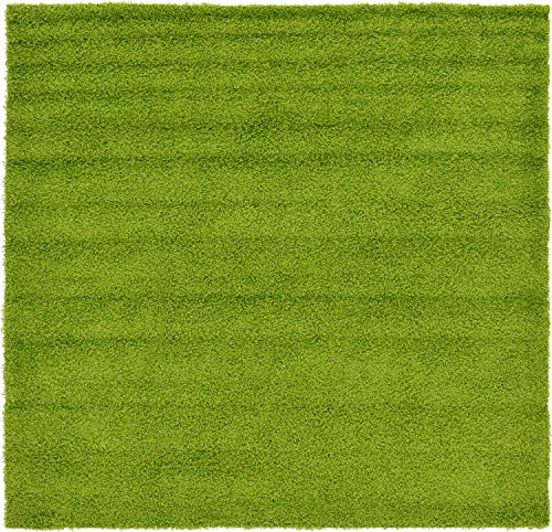 Unique Loom Solo Solid Shag Collection Modern Plush Grass Green Square (8' x 8') (Square Green Shag Rug)