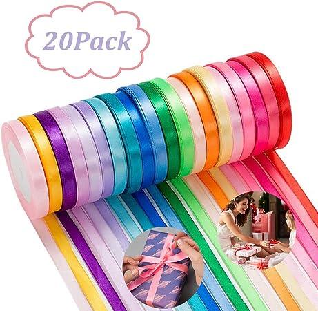 500 yardas Cinta de Raso, 20 Pack Colores Cinta de Raso Mezcla ...