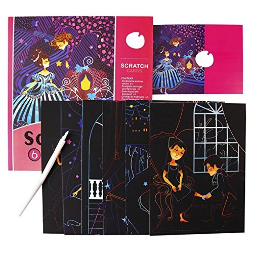 Bao Core Kids Safe Non-toxic Easy to Scratch Sparkle Artist Trading Cards Scratch Off Cards Scratchboards (Cinderella)