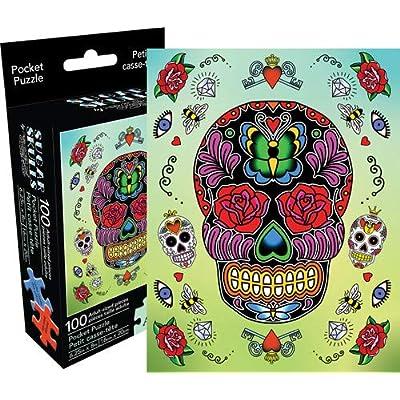 Aquarius Sugar Skulls 100 Piece Adult Pocket Jigsaw Puzzle: Toys & Games