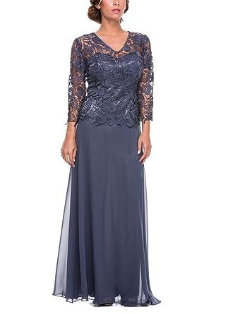 GEORGE BRIDE Damen Chiffon Spitze Abendkleider Abendmode mit Aermeln ...